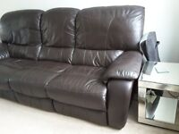 Brown reclining 3 seater high quality soft leather sofa