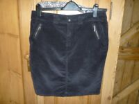 Black corduroy skirt short size 14 by TU