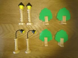 John Lewis Wooden Train Accessories Set - 4 x Trees & 4 x Lamps As New Condition
