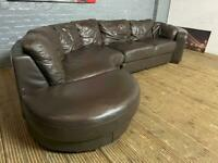 REAL LEATHER CURVE CORNER SOFA IN EXCELLENT CONDITION