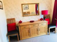 Next Cambridge Oak Extendable Table, Six Chairs and Sideboard