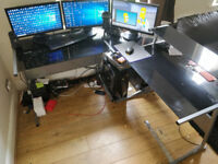 Black Glass PC corner desk
