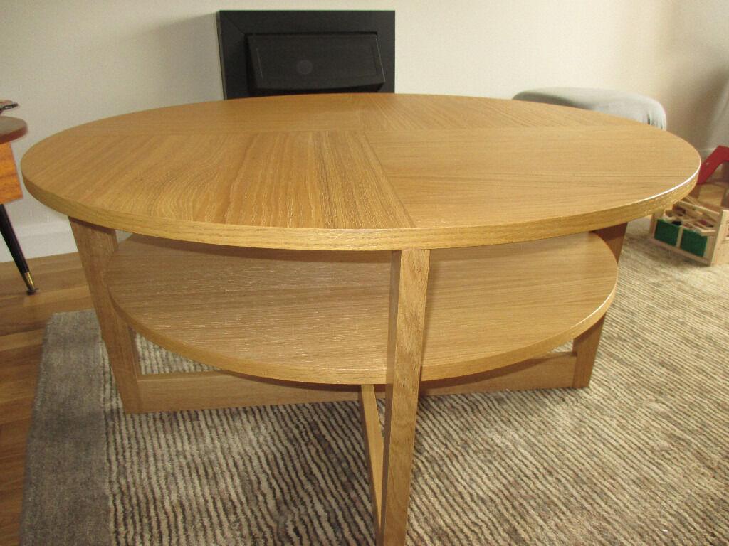 Ikea oak coffee table 39 vejmon 39 90cm as new condition for Coffee tables gumtree london