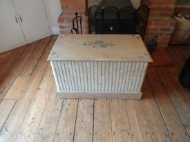 OTTOMEN / CHEST / BLANKET BOX --SOLID WOOD WITH WICKER SURROUND -- (LARGE SIZE )