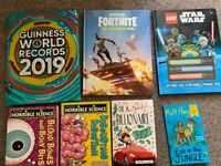 7 books: Guinness records, Fortnite annual 2021, Lego Star Wars, horrible science (£1 all 7 togethe