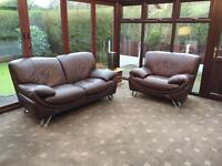 Brown Leather 2 Seater Sofa + Armchair With Contrast Stitching Good Condition