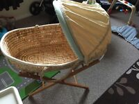 Moses Basket for sale comes with stand