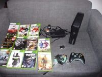 XBOX 360 slim 250 GB with 11 games 2 controls