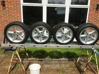 Metalic Silver Alloy wheels & tyres, 4 stud, 195/50R15 in near new condition, 5mm tread on tyres VGC