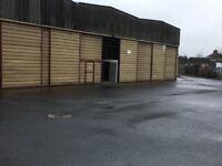 Garage workshop space, storage containers, yard space
