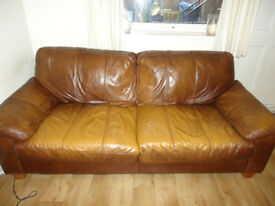 Leather brown 3 + 2 brown sofa in fantastic condition