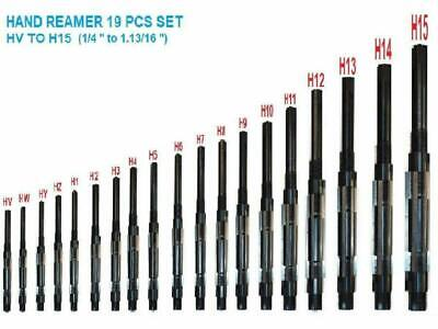 19 Pcs Adjustable Hand Reamer Set H-v To H-15 Sizes 14 To 1.1316
