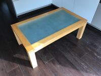 Coffee Table - Solid Oak and Tempered Glass