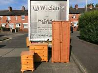 4 piece pine bedroom suite wardrobe chest of drawers etc