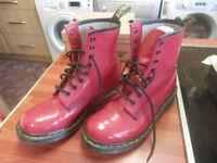 DR MARTENS LADIES/GIRLS RED BOOTS 8 EYE SIZE 5,USED V.GOOD CONDITION