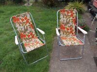 2 x vintage floral garden deck chairs