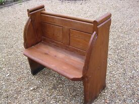 HALL SETTLE. OLD PINE CHURCH PEW. Delivery possible. LONGER BENCH & CHAPEL CHAIRS FOR SALE.