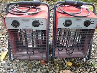 Draper electric space heaters x2, spares or repair