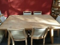 Oak dinning table and six chairs