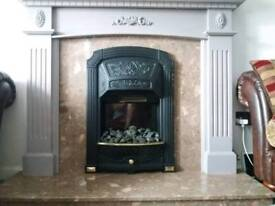 Marble fire surround and fire