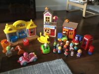 Happyland Little People Bundle including post office, Tea room and shop