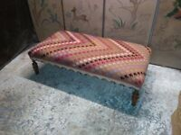 handmade Turkish kilim coffee table stool ottoman on antique legs by master upholsterer in surrey