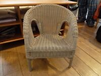 Childs grey painted wicker chair. Conservatory/nursery. Annie Sloan paint. Shabby Chic