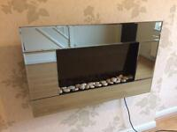 Wall mounted electric fire Heater Chrome mirror with pebbles 2KW