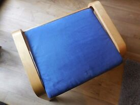 Ikea Poang footstool. Light oak colour frame. Blue suede-like, washable cover. Immaculate condition