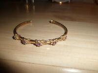 ladies 9ct amethyst & diamonds bangle