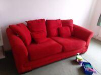 Three seater sofa red