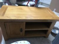 Oak and oak veneer tv unit
