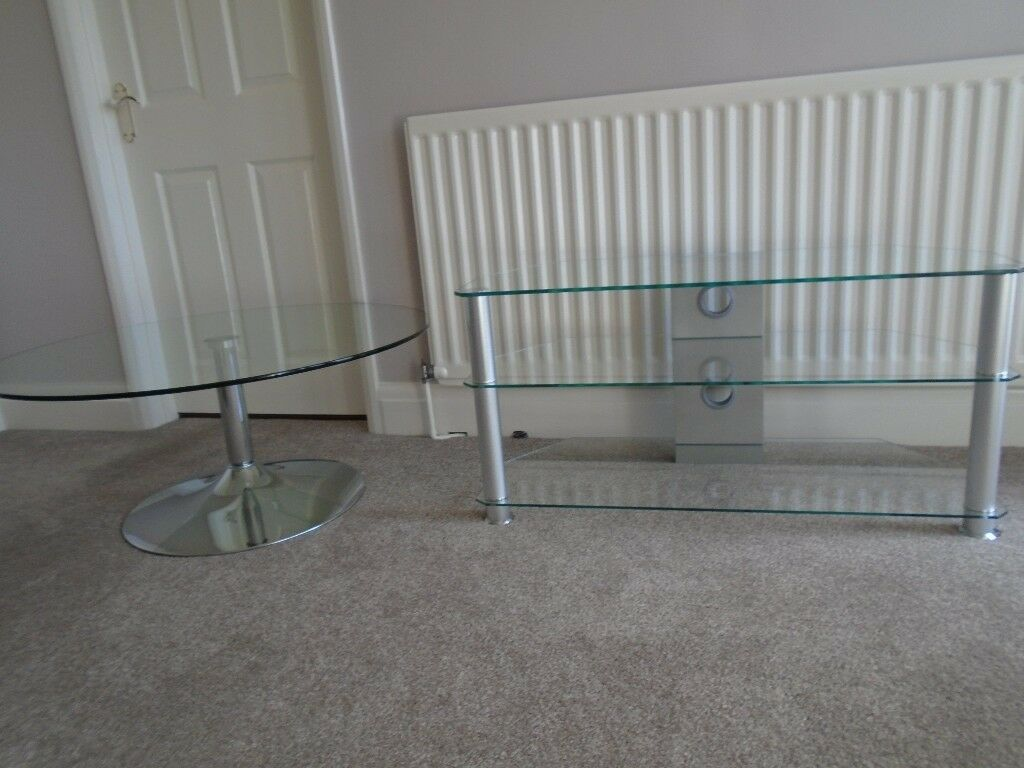 Tv Table And Coffee Table Glass In Garforth West Yorkshire  # Model Table Pour Tv