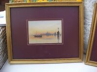 Pair of original watercolours in burgundy mounts in ornate frame - never used