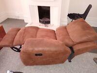 Suede recliner armchair