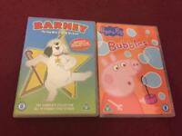 Barney and Peppa Pig children's DVDs £1.50 each