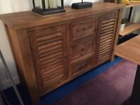 Large Solid Mango Wood Sideboard with Lourve Doors rrp £699