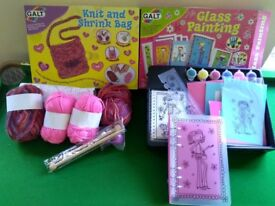 Galt girls craft sets knitting , glass painting. All complete. Not used.