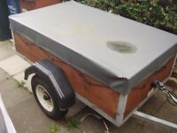 SMALL CAR TRAILER ABOUT 5 FT WITH TRAILER COVER ABOUT 5 FT SPARE WHEEL