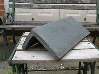 16 no. blue clooured concrete ridge tiles