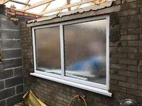 UPVC Double Glazing Window. White. 179cm wide x 105cm excl Window Sill.