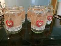 5 x vintage Hessian jars ideal table decoration