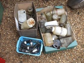JOB LOT OF CLASSIC CAR WASHER BOTTLES AND PUMPS