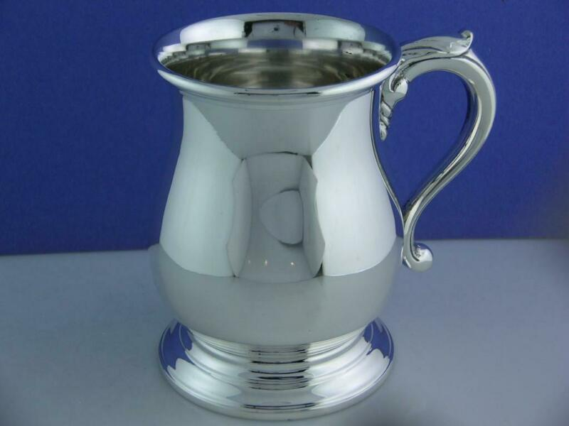 heavy Sterling MANCHESTER Mug Cup - early colonial style ~no mono ~Mint Cond