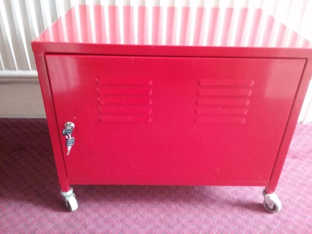ikea red metal cabinet with 2 keys on wheels solid. Black Bedroom Furniture Sets. Home Design Ideas