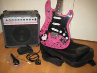 Pink electric guitar and amplifier package