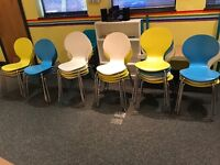 21 blue, yellow and white chairs - will sell separately