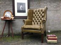 GENUINE VINTAGE CHESTERFIELD ARMCHAIR FREE DELIVERY LEATHER 🇬🇧