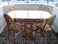 Folding Beech Dining Table and 4 Chairs