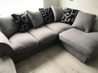 Grey corner sofa 2 seater and matching footstool